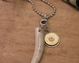 Shotgun Casing Jewelry - Hunting Jewelry - Gift For Guy - Genuine Deer Antler with 12 Gauge Shotgun Casing Necklace