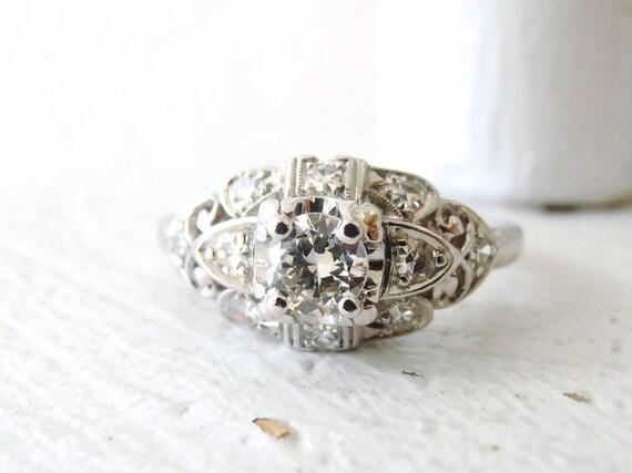 Reserved for Andrew, Art Deco Vintage Platinum .46 carat Diamond Engagement Ring