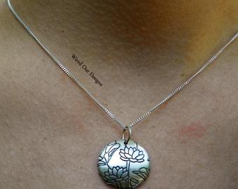 Sterling Silver Lotus Flower Necklace - Zen, Meditation, Yoga