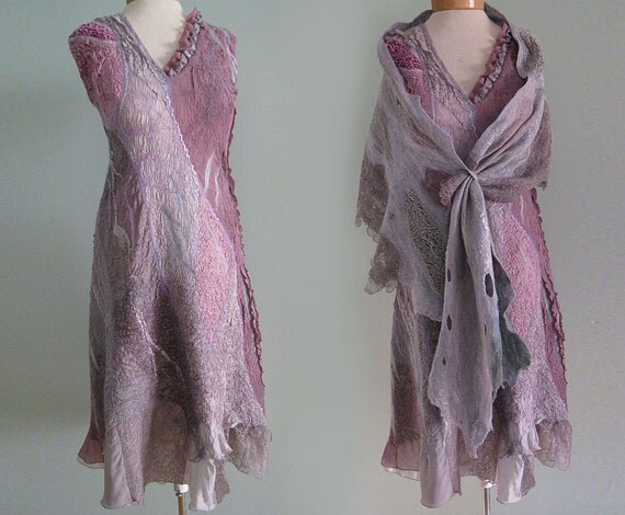 Felted wool silk dress shawl dusty rose silver gray unique couture