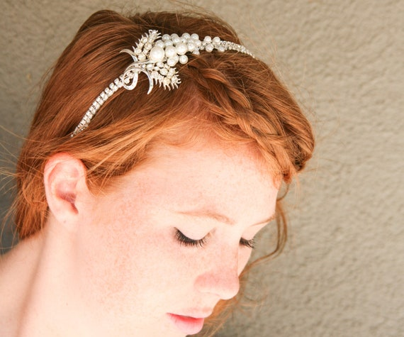 wedding hair, rhinestone and white pearl tiara, vintage bridal headband