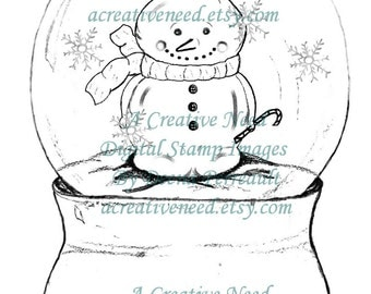 Instant Download Digital Stamp Image SNOWGLOBE with SNOWMAN, Christmas Image, Winter Illustration.