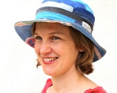 Blue and Grey Sun Hat Toweling & Cotton Drill - Unisex