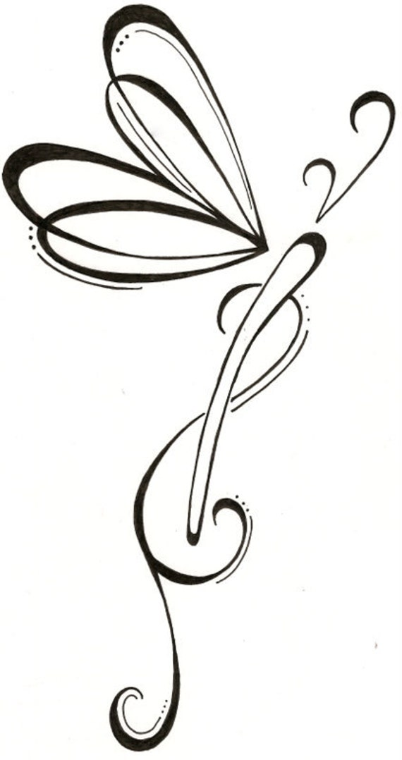 Dragonfly Tattoo Line Drawing : Tribal dragonfly outline