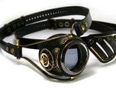 STEAMPUNK MONOGOGGLE and EYEPATCH  black leather blackened brass gears Flex Solid Frame ///