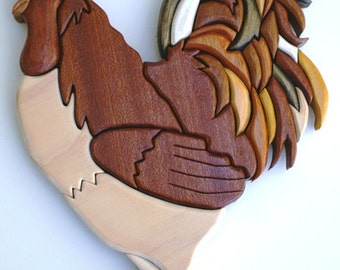 Intarsia Roosters wall hangings