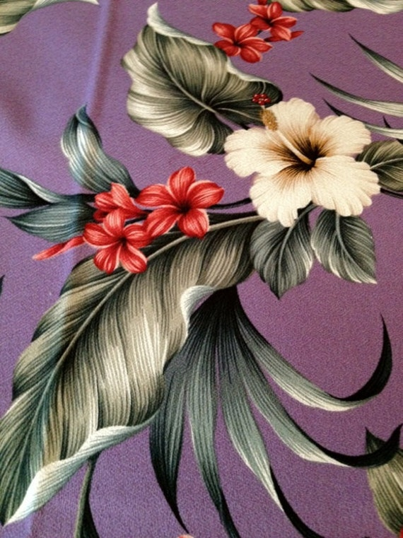 Retro Hawaiian Floral Barkcloth// Tropical Fabric with Red and White  Hibiscus// Cotton Yardage// Upholstery Weight Fabric