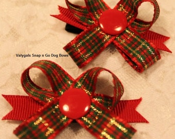 Christmas Plaid Snap N Go Dog Bows: Set of 2