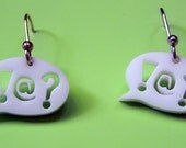 White Laser Cut Acrylic and Sterling Silver Internal Dialogue Earrings