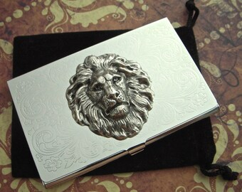 Silver Lion Head Business Card Case Silver Plated Metal Slim Card Case Vintage Inspired Gothic Victorian Jungle Animal Steampunk Style