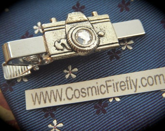 Men's Tie Clip Camera Tie Clip Vintage Inspired Men's Gifts For Him Silver Tie Clip Swarovski Elements Lens