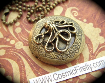 Brass Octopus Locket Necklace Round Locket Antiqued Brass Gothic Victorian Steampunk Locket Primitive Finish