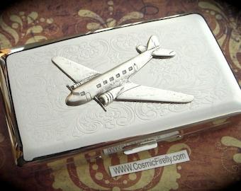 Silver Airplane Case Long Cigarette Case Steampunk Propeller Airplane Travel Vintage Inspired DC3 Prop Plane Silver Plated Metal Holds 120's