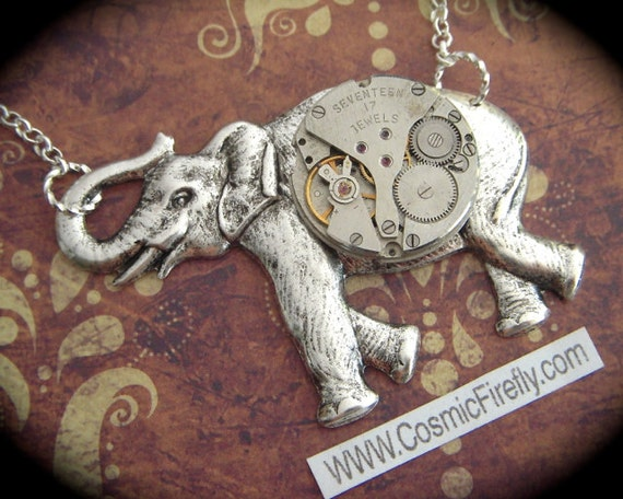 Big Elephant Necklace Steampunk Necklace Large Silver Elephant Pendant Round Vintage Watch Movement Necklace