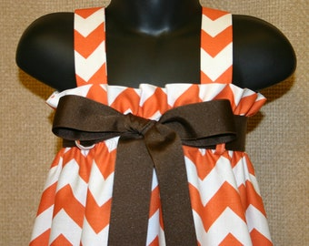 Zadee Dress in Orange Chevron fabric ... Game Day dress with Ribbon Belt Option