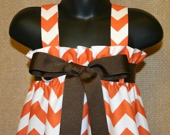 Zadee Dress in Orange Chevron fabric ... Game Day dress with Ribbon Belt Option
