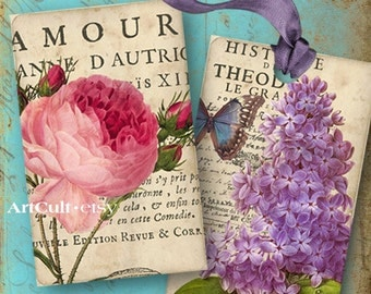 Printable Download ANTIQUE FLOWER TAGS Digital Collage Sheet shabby chic antique style Images Jewelry Holders Vintage ephemera cards ArtCult