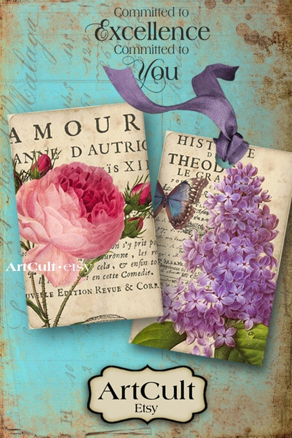 Printable Download ANTIQUE FLOWER TAGS Digital Collage Sheet shabby chic antique style Images Jewelry Holders Vintage cards by ArtCult