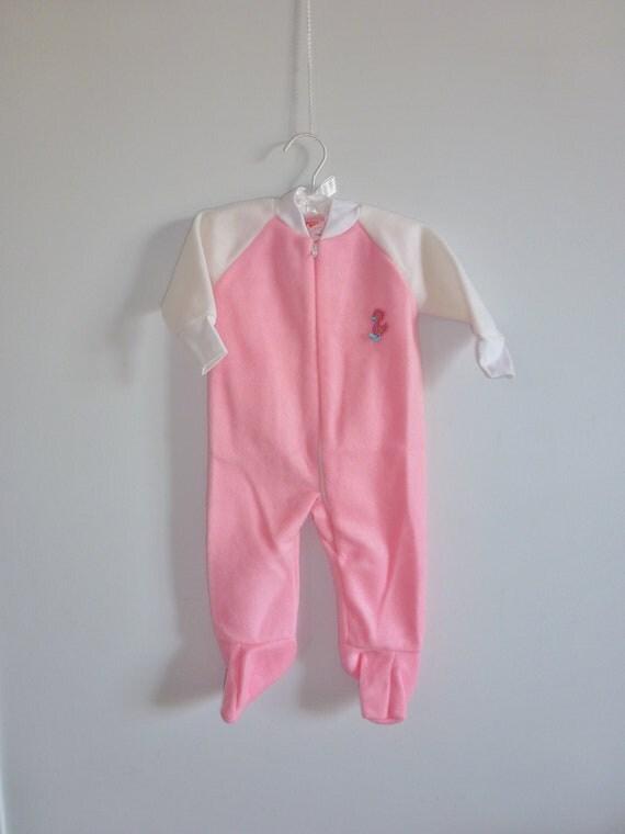 Vintage Pink Baby Fleece Sleeper