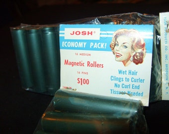 32 Vintage Hair Curler Rollers w/ Metal Bobby Pins 1960's era hard plastic