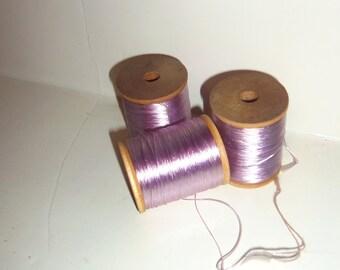 3 Wooden Spool Silk Thread 2 inch Vintage THISTLE PURPLE Embroidery Floss, Lace Tatting Thread, Bead Cord