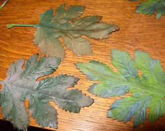 Vintage Millinery Flower MAPLE Fabric Leaves Green hand painted Gray Puce Purple Wreath Supplies
