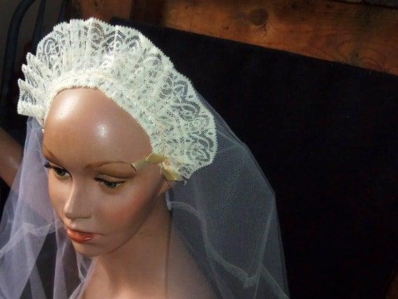 Vintage Bridal Veil Mantilla Cream Lace White Tulle Headband Wedding Flower Girl