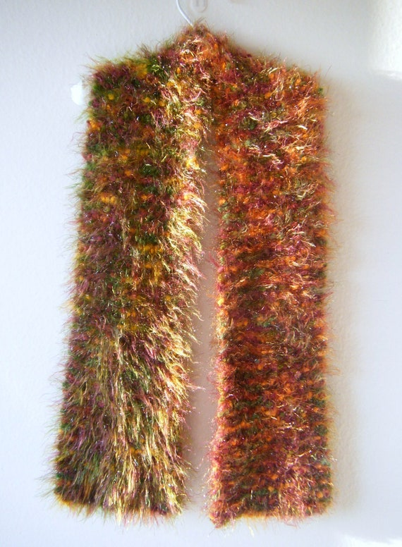 Items similar to Hand Knitted Bobble Eyelash Yarn Scarf on Etsy