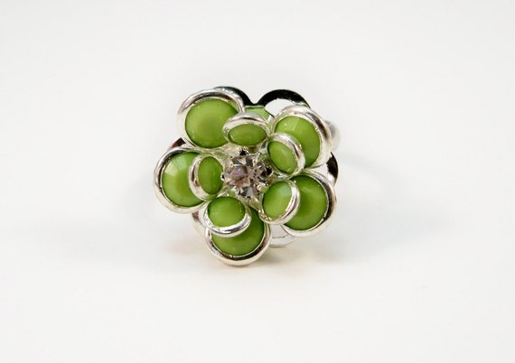 Green Flower Cocktail Ring, Crystal Ring, Adjustable Ring