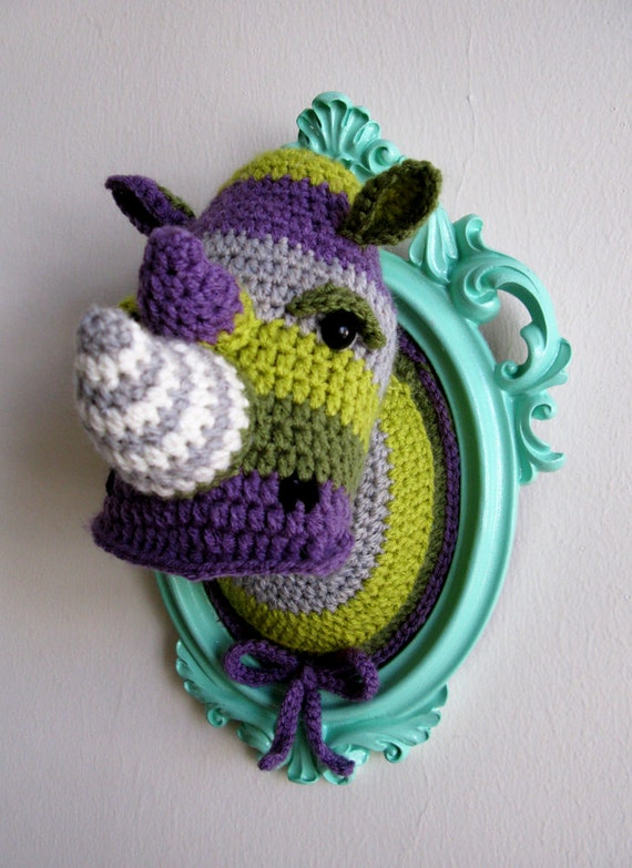 Crochet color block rhino head