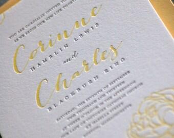 Letterpress Wedding Invitations  Deposit
