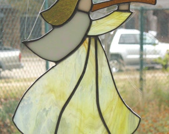 Stained Glass Angel Suncatcher - Yellow
