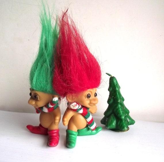 Christmas Troll Dolls. Vintage 80s Russ Trolls. Collectible