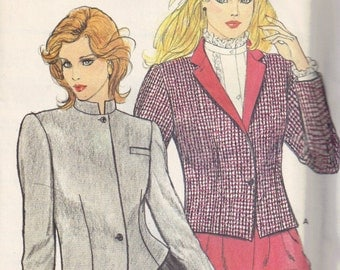 Cropped Blazer Jacket Nehru Band Collar Butterick 4563 Sewing Pattern Misses Size 6, 8, 10 Bust 30.5 31.5 32.5
