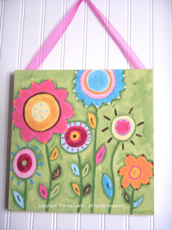 Baby nursery children original canvas painting kid girl room for Canvas painting for kids room