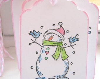 Snowman Gift Tags, Christmas Gift Tags, Pink and Green