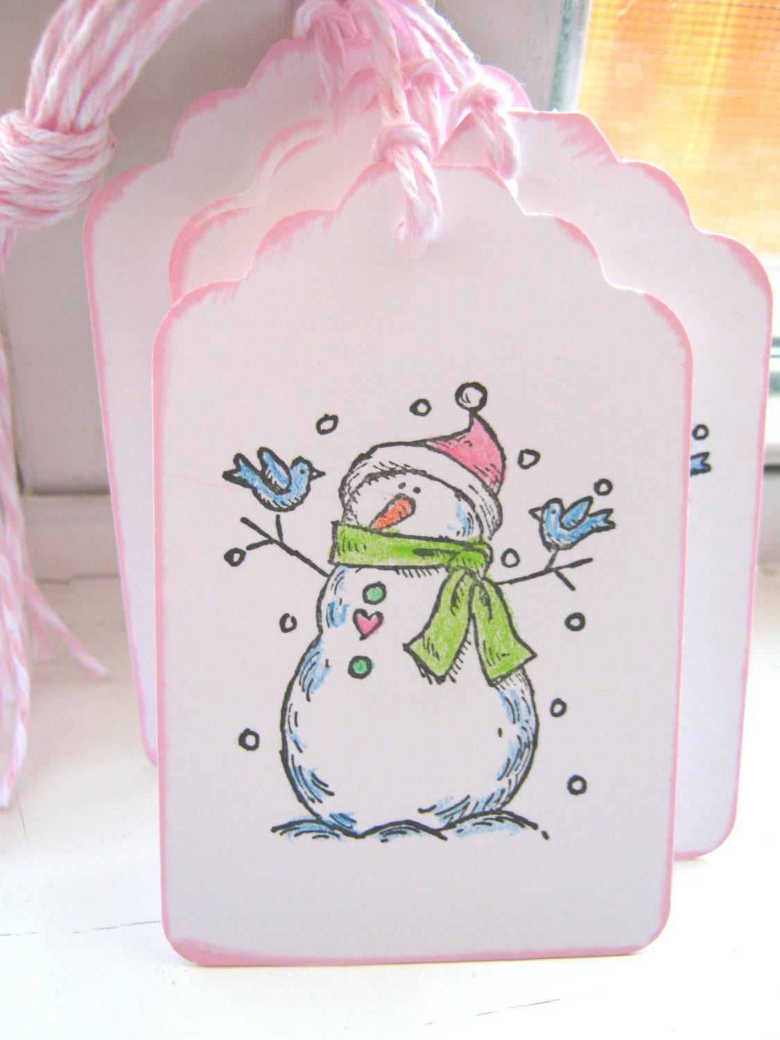 Snowman Gift Tags Christmas Gift Tags Pink and by ...