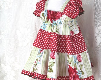 Cottage Chic Baby Dress Boutique Baby Girl Clothes Handmade Ruffled Baby Dress in Sizes 3 6 9 month Red Rose & Polka Dot Cotton Baby Clothes