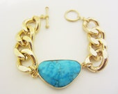 Turquoise & Chunky Gold Chain Bracelet