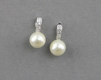 Pearl Earrings , Bridal Pearl Earrings , Ivory Pearl Earrings, Swarovski Crystal Pearl Earrings, Bridal Bridesmaid Earrings