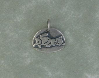 Kitten cat fine silver pendant charm DTPD PMC