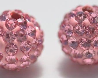 5 Pink Shamballa 10 mm  Beads BD320