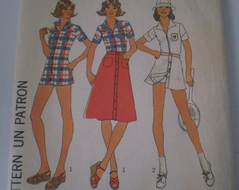 Simplicity Pattern 7527  Vintage 1976  Skirt and short jumpsuit Size 14