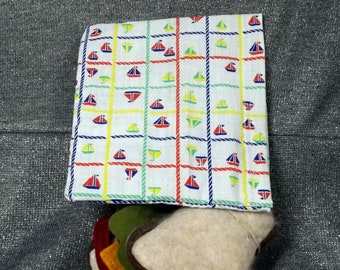 Reusable Sandwich Bag, Sailboat Checks Print