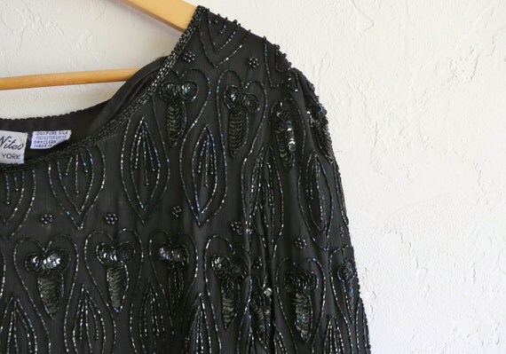 The Black Beaded and Sequined Cocktail Dress