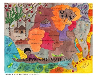 democratic republic of Congo Map democratic republic of congo childrens art original adoption