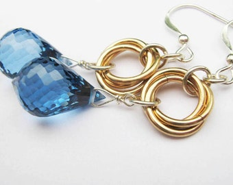 London Blue Topaz Love Knot Earrings in Gold and Sterling Silver