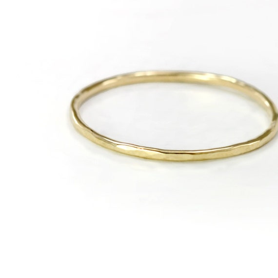 thin 14k gold ring delicate hammered band 14k yellow