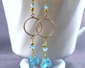 Apatite Cluster Earrings- Gold Filled with a Trio of Gemstones