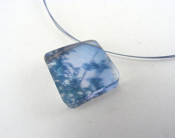 Perspex Pendant, blue forest Necklace, Enchanted Woodland Pendant